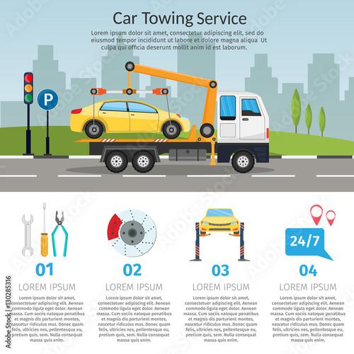 tow truck city road assistance service evacuator online car help flat design vector background. Black Bedroom Furniture Sets. Home Design Ideas