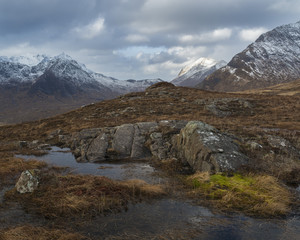 A view of the mountains from above Camasunary, Isle of Skye, Inner Hebrides, Scotland, United Kingdom, Europe