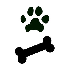Dog paw and bone icons. Vector illustration