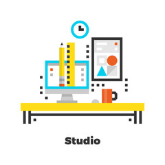 Studio Flat Illustration.