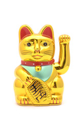 figurine golden cat brings good luck isolated on white