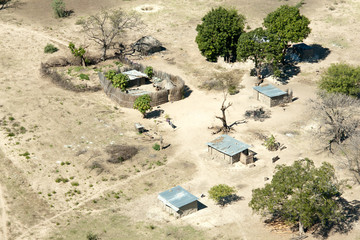 Aerial view of local village, Impalila Island at the confluence of Zambezi and Chobe Rivers, eastern Caprivi Strip, Namibia, Africa