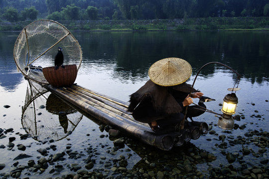 Cormorant fisherman with his pet birds on a bamboo raft in shallow water in the countryside of Li River, Yangshuo, Guangxi, China
