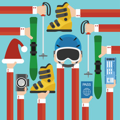 New Year Holiday with skiing set design flat