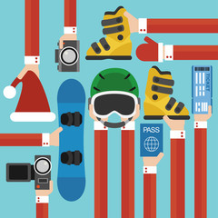New Year Holiday with snowboard set design flat