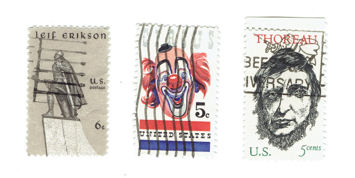 UNITED STATES: Arrange of different used stamps  of Lief Erikson, Circus with clown icon and Henry David Thoreau, writer andcirca 1967. Printed in United States of America