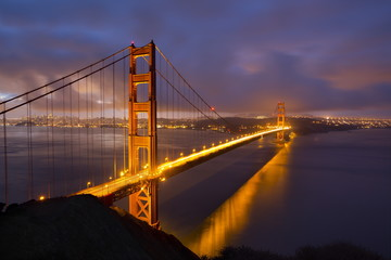 Golden Gate Bridge at dawn, San Francisco, California, United States of America, North America