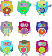 set of cute owls isolated on white