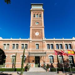 Casa Árabe in Madrid against a clear blue sky