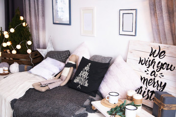 decorated living room. Christmas decoration concept