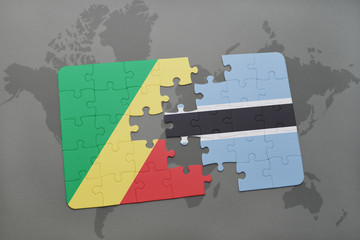 puzzle with the national flag of republic of the congo and botswana on a world map
