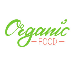 Logo organic food. Fresh bright green and red on a white background. Hand lettering, calligraphy