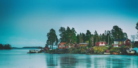 Fisherman village in Sweden at winter after sunset - winter seasonal scandinavian background