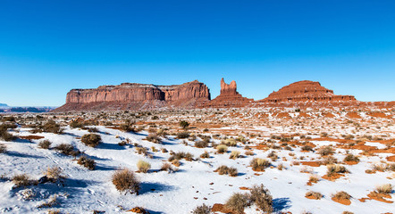 Monument valley under blue sky