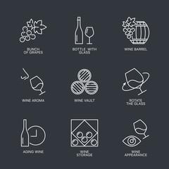 Thin line wine icons set