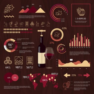 Wine vector infographics on wooden background.
