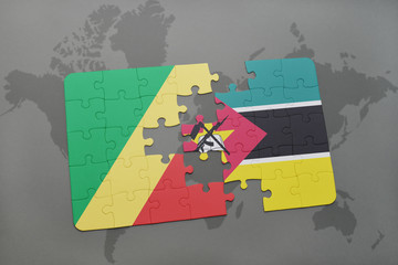 puzzle with the national flag of republic of the congo and mozambique on a world map