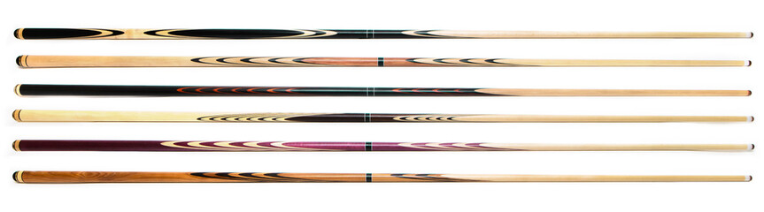 billiard cue sticks on white background