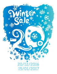 Winter sale 20%. Hand Drawn concept vector poster.