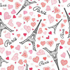 Vector Eifel Tower Paris Seamless Repeat Pattern Bursting With St Valentines Day Pink Red Hearts Of Love. Perfect for travel themed postcards, greeting cards, wedding invitations.