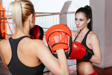 Two female boxers training