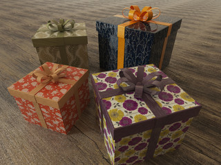 3D render of a multicolor wrapped holiday presents with ribbons
