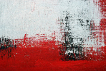 Black, white, red acrylic paint  on metal surface. Brushstroke