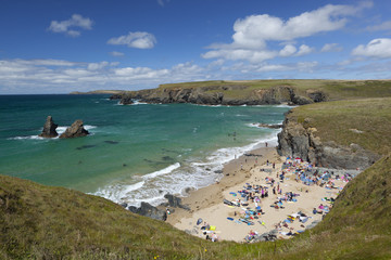 North Cornwall coast beach, Porthcothan, near Newquay, Cornwall, England