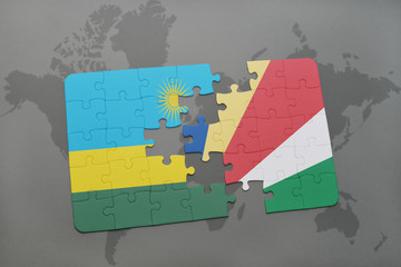puzzle with the national flag of rwanda and seychelles on a world map