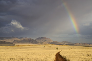 Storm clouds and rainbow in the early evening in NamibRand Nature Reserve, Namib Desert, Namibia, Africa
