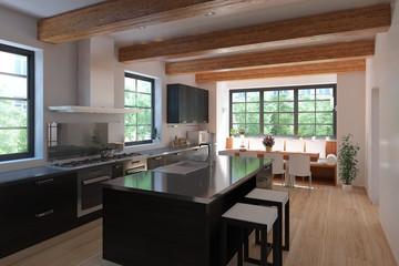 3D Interior rendering of a modern kitchen