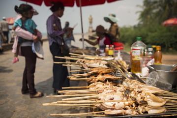 Barbecue stalls at Crab Market, Kep, Kep Province, Cambodia