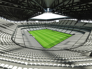 3D render of a large capacity soccer-football Stadium with an open roof and white seats