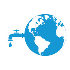 Earth with a tap leaking water in space. A metaphor on global water waste. Vector illustration