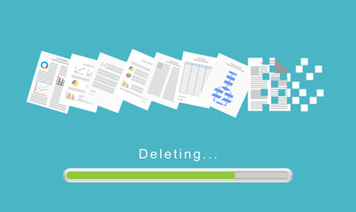 Delete files or delete documents process. Wall mural