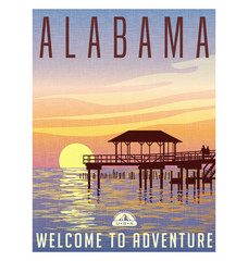 Alabama, United States travel poster or luggage sticker. Scenic illustration of a fishing pier on the Gulf coast at sunset.