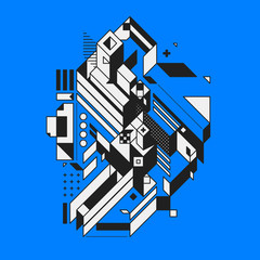 Abstract geometric element on blue background. Style of futurism and constructivism. Useful as prints or posters.
