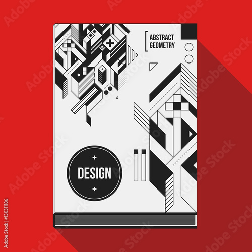 Book Cover Design Elements ~ Quot book cover design template with abstract geometric