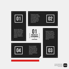 Modern corporate graphic design template with black elements on white background. Useful for advertising, marketing and web design.