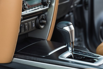 Detail of modern car interior, Focus on gear