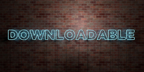 DOWNLOADABLE - fluorescent Neon tube Sign on brickwork - Front view - 3D rendered royalty free stock picture. Can be used for online banner ads and direct mailers..