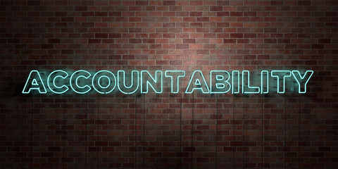 ACCOUNTABILITY - fluorescent Neon tube Sign on brickwork - Front view - 3D rendered royalty free stock picture. Can be used for online banner ads and direct mailers..