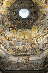 Dome fresco of The Last Judgement by Giorgio Vasari and Federico Zuccari inside the Duomo, Florence, UNESCO World Heritage Site, Tuscany, Italy, Europe