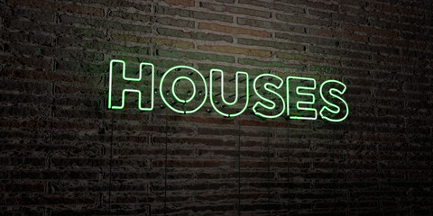 HOUSES -Realistic Neon Sign on Brick Wall background - 3D rendered royalty free stock image. Can be used for online banner ads and direct mailers..