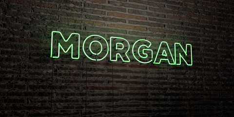 MORGAN -Realistic Neon Sign on Brick Wall background - 3D rendered royalty free stock image. Can be used for online banner ads and direct mailers..
