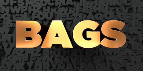 Bags - Gold text on black background - 3D rendered royalty free stock picture. This image can be used for an online website banner ad or a print postcard.