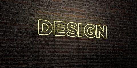 DESIGN -Realistic Neon Sign on Brick Wall background - 3D rendered royalty free stock image. Can be used for online banner ads and direct mailers..