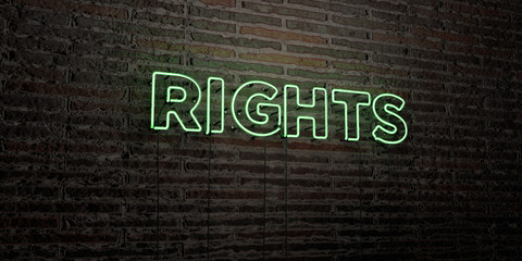 RIGHTS -Realistic Neon Sign on Brick Wall background - 3D rendered royalty free stock image. Can be used for online banner ads and direct mailers..
