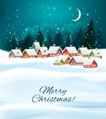 Photo sur Plexiglas Winter village night Christmas background. Vector.