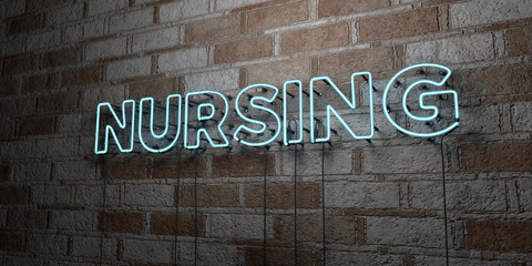 NURSING - Glowing Neon Sign on stonework wall - 3D rendered royalty free stock illustration.  Can be used for online banner ads and direct mailers..